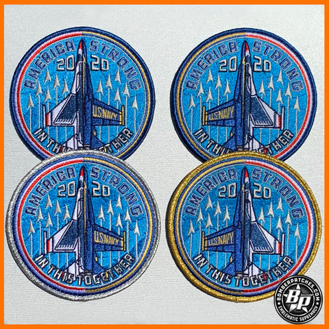 "USAF Thunderbirds and USN Blue Angels America Strong ""In This Together"" Official Commemorative Four Patch Set"