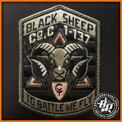 "Company C 1-137th Assault Aviation ""Black Sheep"" Patch, UH-60 Blackhawk, Indiana Army National Guard, Subdued"