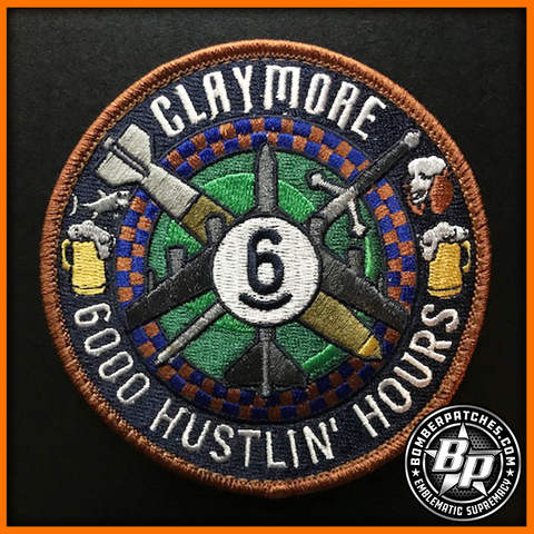 """Claymore, 6000 Hustlin' Hours"" Fini-Flight Embroidered Patch, B-52 H, 93d Bomb Squadron"