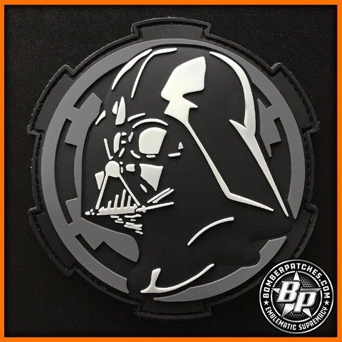 Darth Vader Inspired PVC Patch Glow In The Dark Imperial Cog Star Wars Gray