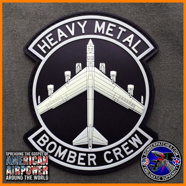 B 52 Heavy Metal Bomber Crew Pvc Patch Black And White