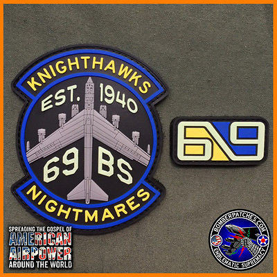 69th Bomb Squadron PVC GLOW IN THE DARK Morale Patch and Tab set