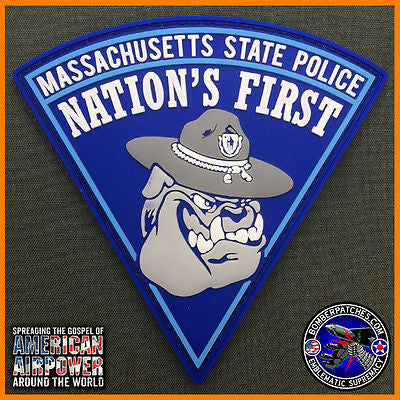 MASSACHUSETTS STATE POLICE PVC PATCH, BULLDOG TROOPER VERSION, AUTHORIZED DESIGN