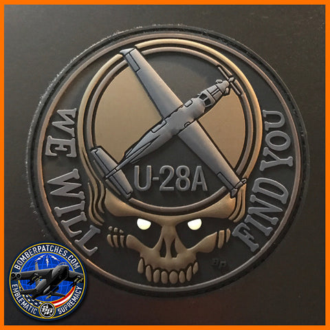 U-28A WE WILL FIND YOU PVC MORALE PATCH, Glow Eyes