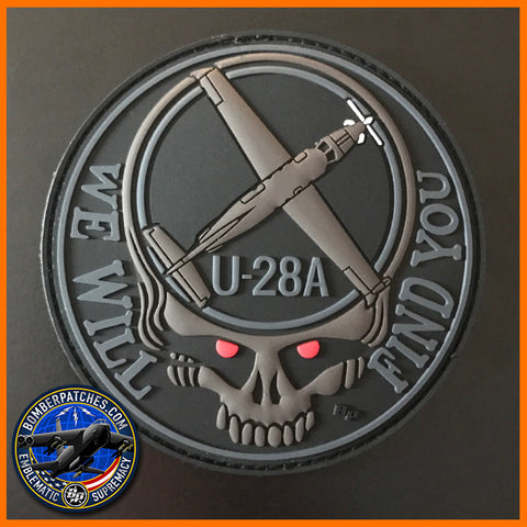 U-28A WE WILL FIND YOU PVC MORALE PATCH, RED EYES Version