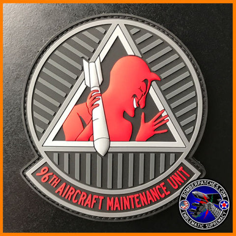 96th Aircraft Maintenance Unit PVC Morale Patch, B-52H Barksdale Air Force Base