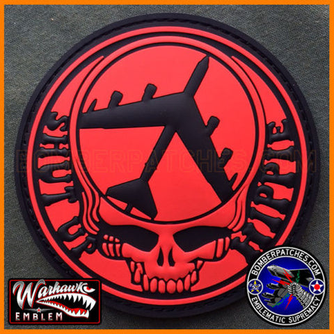 Shut Up Hippie B-52 Stratofortress PVC Patch Black & Red 96th Bomb SQ colors