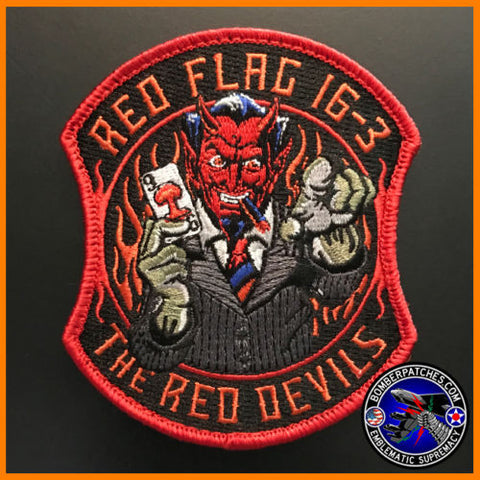 96th BOMB SQ RED FLAG 16-3 PATCH RED DEVILS