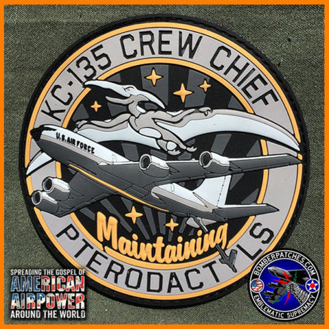 "KC-135 CREW CHIEF PVC PATCH ""MAINTAINING PTERODACTYLS"", TANKER MORALE EMBLEM"