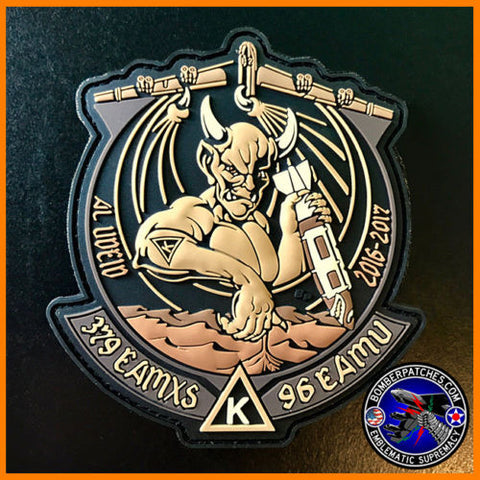 B-52 379 EAMXS 96th Expeditionary Aircraft Maint. Unit PVC Patch Al Udeid AB Tan