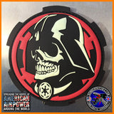 Skull Darth Vader Inspired PVC Patch Glow In The Dark Red Imperial Cog Star Wars