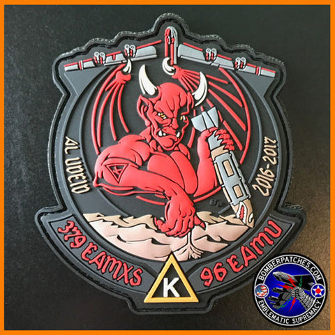 B-52 379 EAMXS 96th Expeditionary Aircraft Maint. Unit PVC Patch Al Udeid AB Red