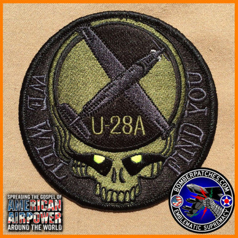 "U-28A ""We Will Find You"" Patch, Black & Dark Green Subdued"