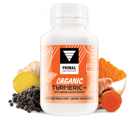 Primal Collective Organic Turmeric Ginger and Black Pepper Capsules 120s