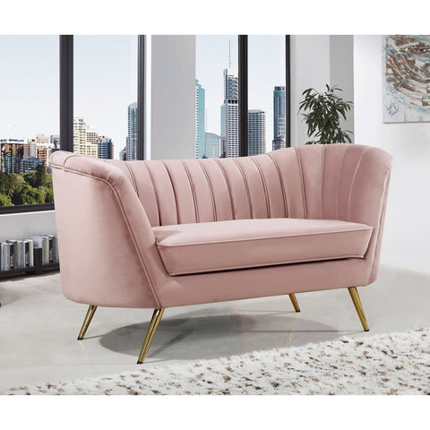 Meridian Furniture Margo Pink Velvet Love Seat