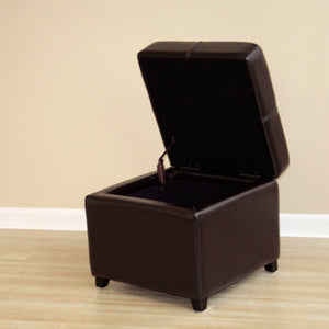 Baxton Studio Dark Brown Full Leather Storage Cube Ottoman Baxton Studio-ottomans-Minimal And Modern - 4
