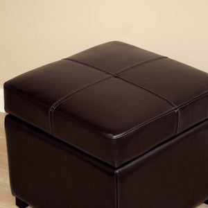 Baxton Studio Dark Brown Full Leather Storage Cube Ottoman Baxton Studio-ottomans-Minimal And Modern - 3