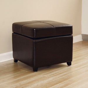 Baxton Studio Dark Brown Full Leather Storage Cube Ottoman Baxton Studio-ottomans-Minimal And Modern - 2