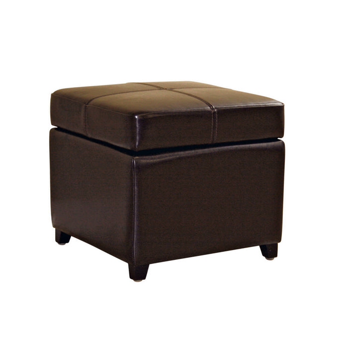Baxton Studio Dark Brown Full Leather Storage Cube Ottoman Baxton Studio-ottomans-Minimal And Modern - 1