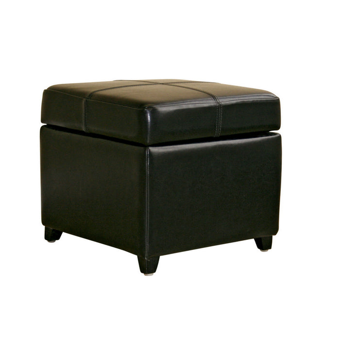 Baxton Studio Black Full Leather Storage Cube Ottoman  Baxton Studio-ottomans-Minimal And Modern - 1