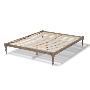 Baxton Studio Iseline Modern and Contemporary Antique Grey Finished Wood Queen Size Platform Bed Frame