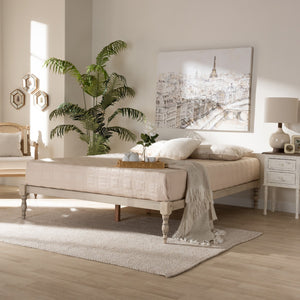 Baxton Studio Iseline Modern and Contemporary Antique White Finished Wood King Size Platform Bed Frame