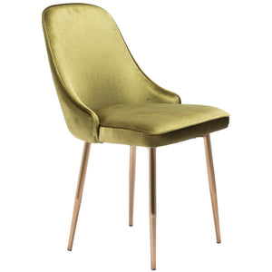 Zuo Modern Merritt Dining Chair Green Velvet - 100840-Dining Chairs-Zuo Modern-Minimal And Modern Canada