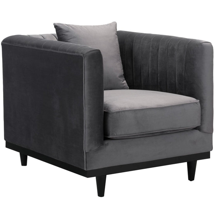 Zuo Modern Garland Arm Chair Gray Velvet - 101045 Zuo Modern-Arm Chairs-Minimal And Modern Canada - 1