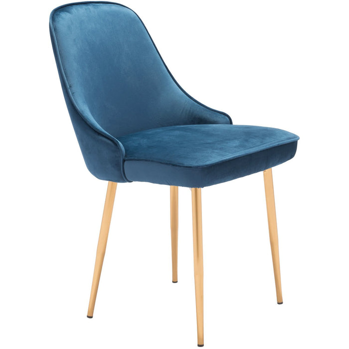 Zuo Modern Merritt Dining Chair Navy Velvet  - 101079 Zuo Modern-Dining Chairs-Minimal And Modern Canada - 1