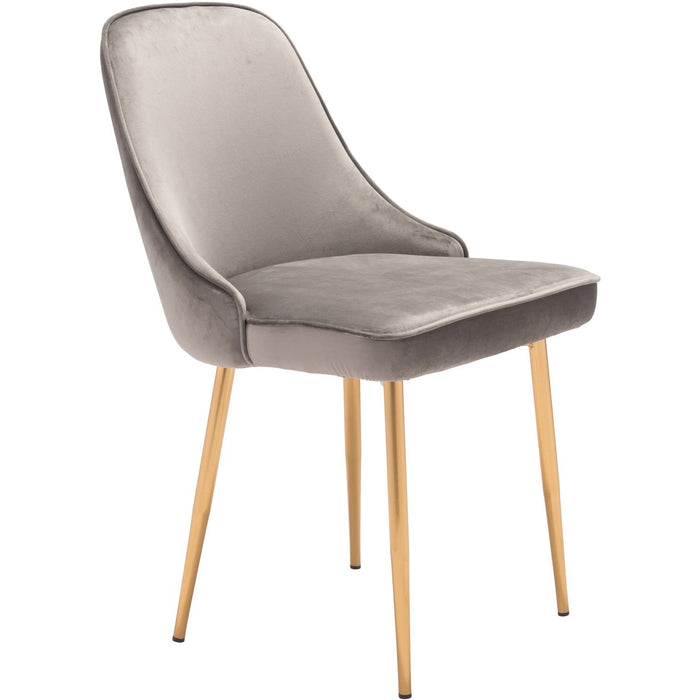Zuo Modern Merritt Dining Chair Gray Velvet  - 101081 Zuo Modern-Dining Chairs-Minimal And Modern Canada - 1
