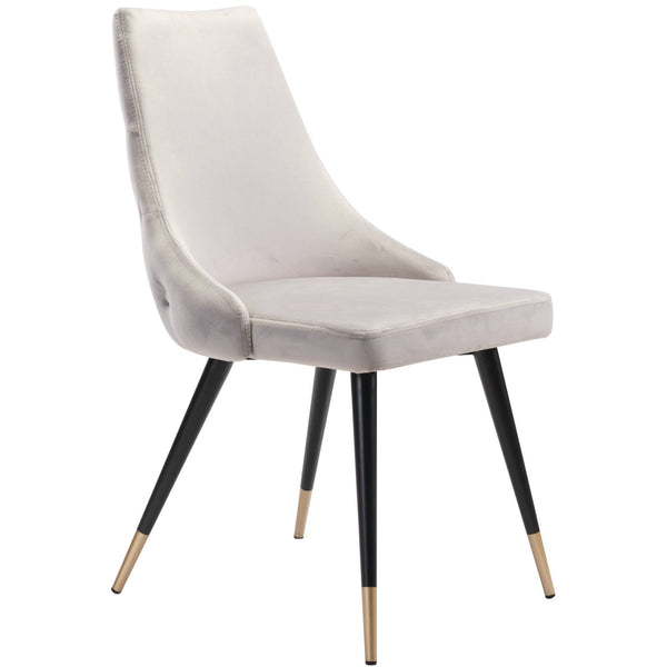 Zuo Modern Piccolo Dining Chair Gray Velvet | Set Of 2 - 101089 Zuo Modern-Dining Chairs-Minimal And Modern Canada - 1