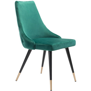 Zuo Modern Piccolo Dining Chair Green Velvet | Set Of 2 - 101090 Zuo Modern-Dining Chairs-Minimal And Modern Canada - 1