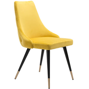 Zuo Modern Piccolo Dining Chair Yellow Velvet  | Set Of 2 - 101091 Zuo Modern-Dining Chairs-Minimal And Modern Canada - 1