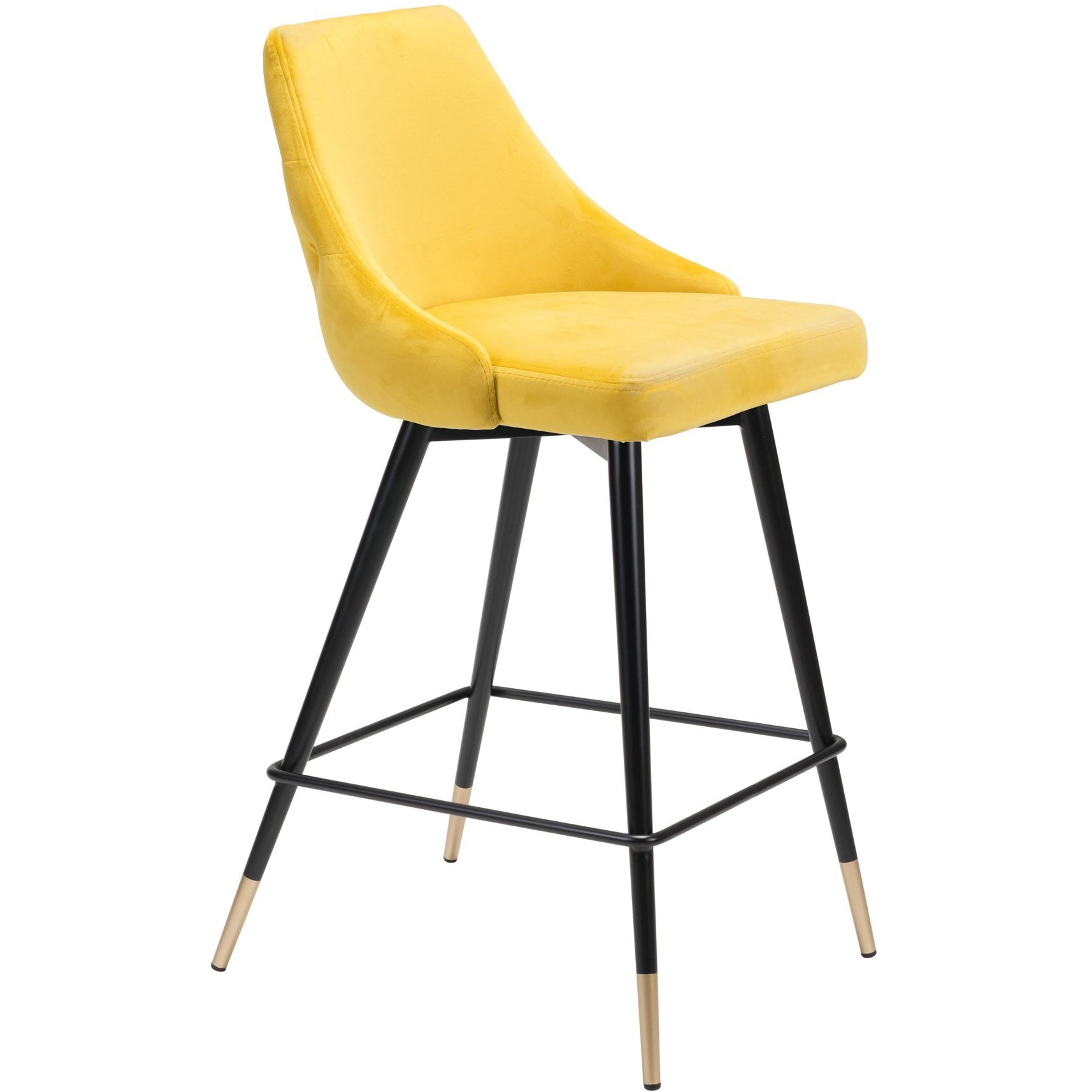 Stupendous Luxe Yellow Velvet Counter Stool With Gold Tipped Steel Legs Creativecarmelina Interior Chair Design Creativecarmelinacom