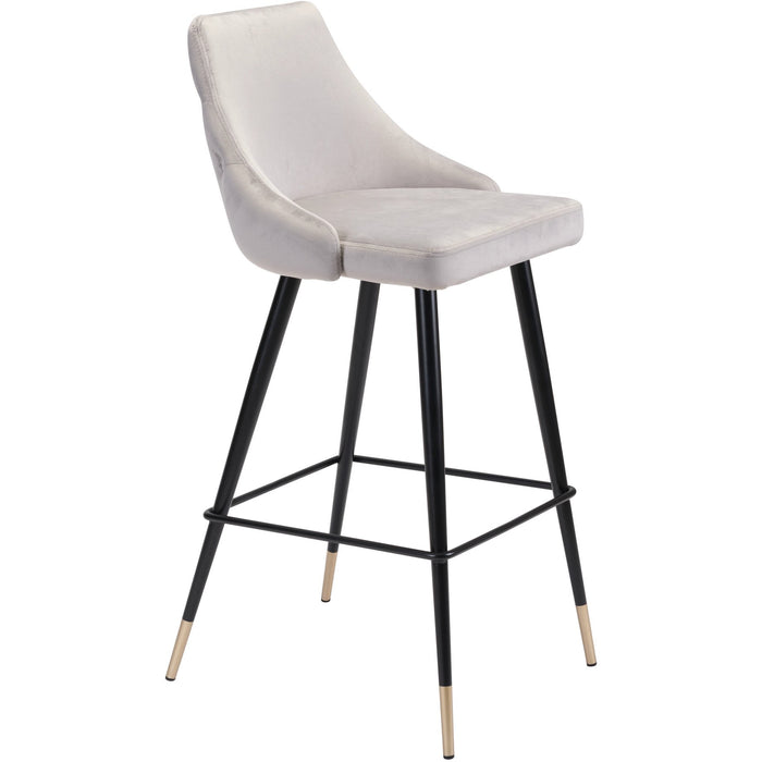 Zuo Modern Piccolo Bar Chair Gray Velvet - 101097 Zuo Modern-Bar Chairs-Minimal And Modern Canada - 1