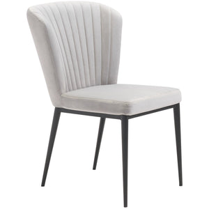 Zuo Modern Tolivere Dining Chair Gray Velvet | Set Of 2 - 101103 Zuo Modern-Dining Chairs-Minimal And Modern Canada - 1