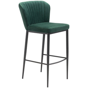 Zuo Modern Tolivere Bar Chair Green Velvet | Set Of 2 - 101104 Zuo Modern-Bar Chairs-Minimal And Modern Canada - 1