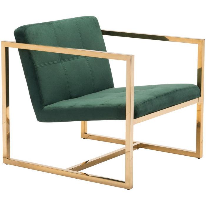 Zuo Modern Alt Arm Chair Green Velvet - 101108 Zuo Modern-Arm Chairs-Minimal And Modern Canada - 1