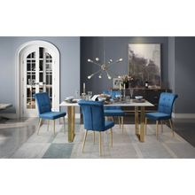 Blue Velvet Cara Dining Chair With Steel Gold Legs | Set Of 2
