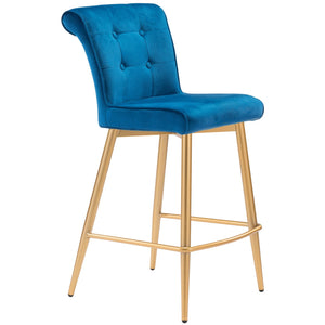 Zuo Modern Niles Counter Chair Blue Velvet - 101142 Zuo Modern-Counter Chairs-Minimal And Modern Canada - 1