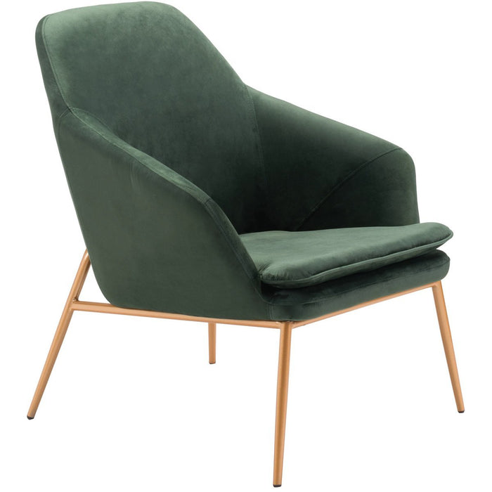 Zuo Modern Debonair Arm Chair Green Velvet  - 101149 Zuo Modern-Arm Chairs-Minimal And Modern Canada - 1
