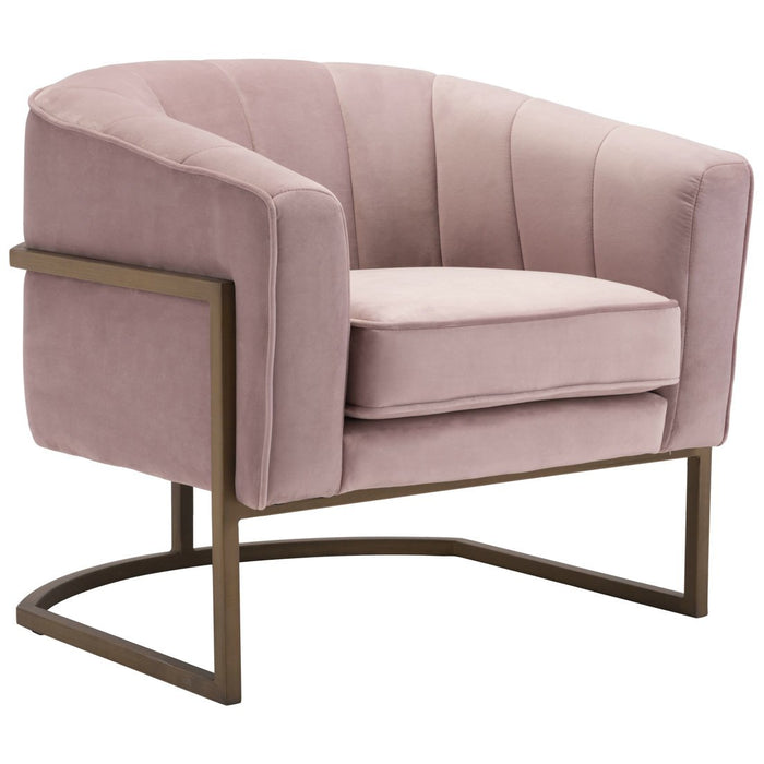 Zuo Modern Lyric Occasional Chair Pink Velvet  - 101151 Zuo Modern-Occasional Chairs-Minimal And Modern Canada - 1