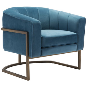 Zuo Modern Lyric Occasional Chair Blue Velvet - 101153 Zuo Modern-Occasional Chairs-Minimal And Modern Canada - 1