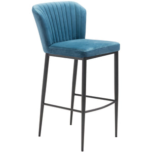 Zuo Modern Tolivere Bar Chair Blue Velvet | Set Of 2 - 101176 Zuo Modern-Bar Chairs-Minimal And Modern Canada - 1