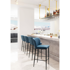 Blue Velvet Romo Bar Stool With Black Stainless Steel Legs | Set Of 2