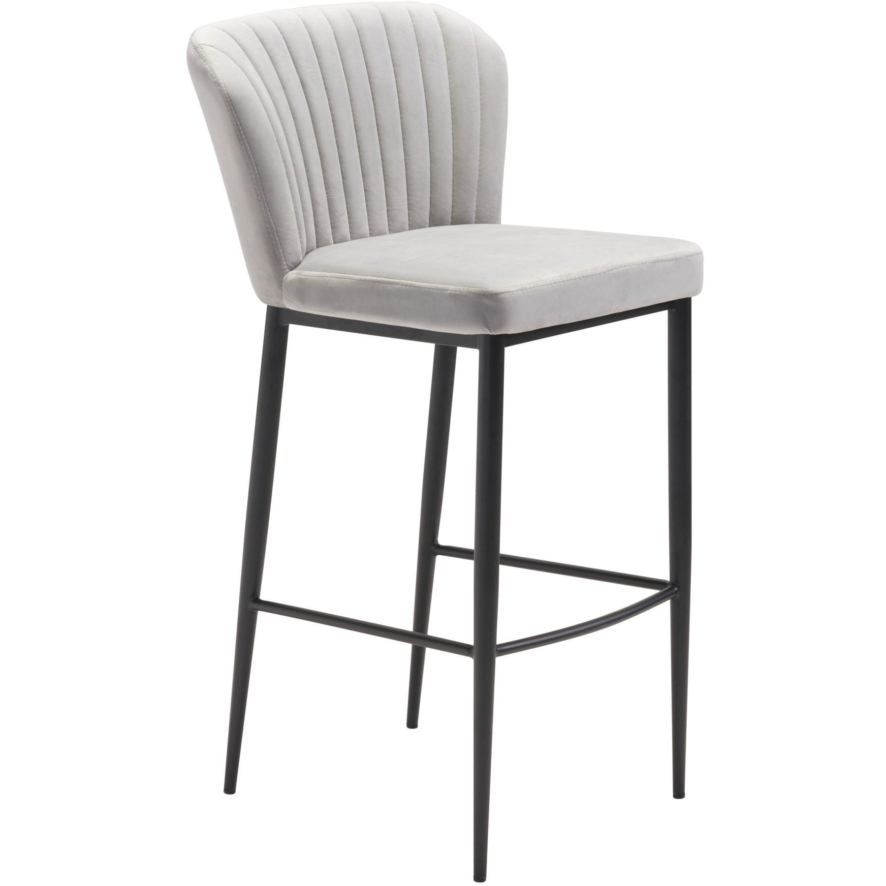 Groovy Gray Velvet Romo Bar Stool With Black Stainless Steel Legs Cjindustries Chair Design For Home Cjindustriesco