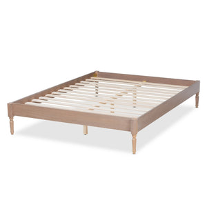 Baxton Studio Colette French Bohemian Antique Oak Finished Wood Full Size Platform Bed Frame
