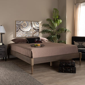 Baxton Studio Colette French Bohemian Weathered Grey Oak Finished Wood Full Size Platform Bed Frame