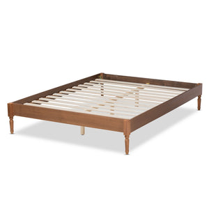Baxton Studio Colette French Bohemian Ash Walnut Finished Wood Queen Size Platform Bed Frame