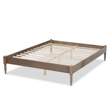 Baxton Studio Cielle French Bohemian Weathered Grey Oak Finished Wood King Size Platform Bed Frame